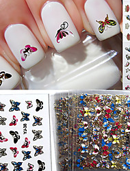 cheap -24 Mixed 3D Nail Stickers Decals Brilliant Butterfly Series