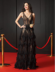 A-Line V-neck Sweep / Brush Train Lace Formal Evening Dress with Lace by TS Couture®