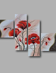 cheap -Hand-Painted Floral/Botanical Any Shape, Modern Canvas Oil Painting Home Decoration Four Panels