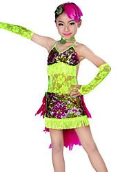 Danse latine Tenue Enfant Spectacle Dentelle Plumes 5 Pièces Robe Manche Coiffures Tour de Cou