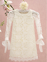 cheap -Sheath / Column Knee Length Flower Girl Dress - Lace Long Sleeves Jewel Neck with Lace by LAN TING BRIDE®