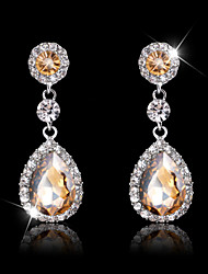 cheap -Lady's Multi-Stone Zircon Huggie Drop Earrings for Wedding Party Jewelry