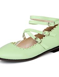 baratos -Mulheres Sapatos Courino Primavera / Verão / Outono Sem Salto Preto / Vermelho / Verde / Casamento / Festas & Noite