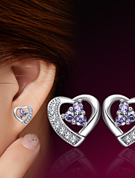 cheap -2016 Korean Unisex 925 Silver Sterling Silver Jewelry Zircon Earrings Heart Stud Earrings 1Pair