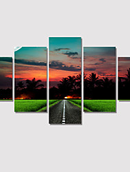 cheap -Modern Twilight View 2016 Painting On Canvas 5 Piece Wall Pictures For Linving Room Decorative Canvas Art No Frame