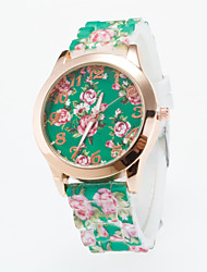 cheap -Hot Sale Newest Arrival Ladies Wristwatch Quartz Lava Silicone Band Women's Golden Case Flower Printing For Dial Fashion Unique Watches Strap Watch