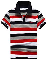 Недорогие -Для мужчин Другое Повседневные Спорт Лето Polo Рубашечный воротник,Простое Активный Полоски С короткими рукавами,100% хлопок,Средняя