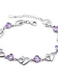 abordables -Femme Chaînes & Bracelets - Argent sterling, Plaqué argent Cœur, Amour Bracelet Violet Pour Mariage
