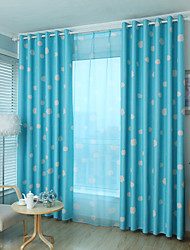 Rod Pocket Grommet Top Tab Top Double Pleated Pencil Pleated Two Panels Curtain Modern , Cartoon Kids Room Polyester Material Blackout