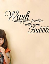 Wash Away Your Troubles Waterproof Removable Vinyl Wall Art Decal Stickers,Decorative Bathroom Quote Decals