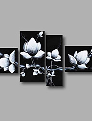"cheap -Stretched (ready to hang) Hand-painted Oil Painting 64""x40"" Canvas Wall Art Modern Black White Flowers"