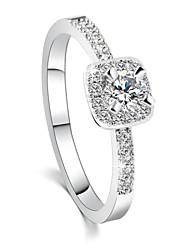 cheap -2016 Engagement Ring Real 18K Platinum Plated Micro Inlay AAA Zircon Fashion RingsImitation Diamond Birthstone