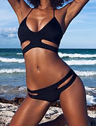 cheap -Women's Solid Bandeau Bikini Swimwear Black