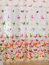 cheap -Rod Pocket One Panel Curtain Country , Print Living Room Polyester Material Sheer Curtains Shades Home Decoration