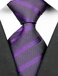 Недорогие -Галстук(Черный / Фиолетовый,Полиэстер)В полоску