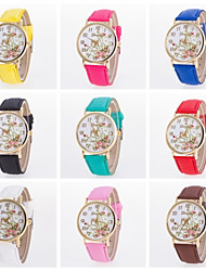 Beautiful Women Flower Printing Watch Pu Leather Band Genveva Floral Watch Cool Watches Unique Watches Fashion Watch Strap Watch
