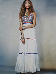 Women's Boho Party Sexy / Boho Swing Dress,Embroidered Strap Maxi Sleeveless White Cotton Summer