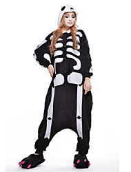 preiswerte -Kigurumi Pyjama Skelett Geist Einteiler Pyjamas Kostüm Polar-Fleece Schwarz Cosplay Für Erwachsene Tiernachtwäsche Karikatur Halloween