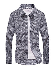 cheap -Men's Daily Formal Shirt,Print Long Sleeves Cotton
