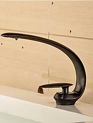 abordables -Moderne Set de centre Jet pluie Soupape céramique 1 trou Mitigeur un trou Bronze huilé, Robinet lavabo