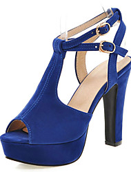 Women's Shoes Chunky Heel Platform/Sling back/Open Toe Sandals Party & Evening/Dress Black/Blue/Red/Beige