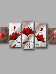 "Stretched (ready to hang) Hand-painted Oil Painting 60""x40"" Canvas Wall Art Modern Flowers Red Magnolia"