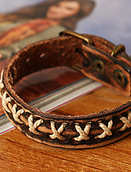 Vintage Genuine Leather Cross Knitting Bracelet
