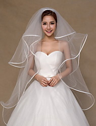 cheap -Four-tier Ribbon Edge Wedding Veil Fingertip Veils With Ruched Tulle