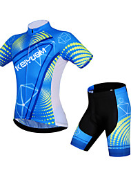 preiswerte -KEIYUEM Fahrradtriktot mit Fahrradhosen Unisex Kurzarm Fahhrad Trikot/Radtrikot Shorts/Laufshorts Kleidungs-Sets Wasserdicht Rasche
