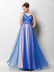 cheap -A-Line Spaghetti Straps Floor Length Tulle Prom Formal Evening Dress with Beading Criss Cross by TS Couture®