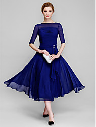 cheap -A-Line Bateau Neck Tea Length Chiffon Mother of the Bride Dress with Ruched by LAN TING BRIDE® / Illusion Sleeve