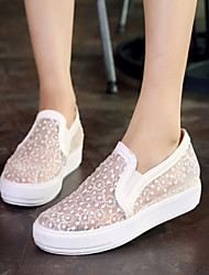 cheap -Women's Shoes Leatherette Spring Summer Fall Platform Split Joint for Outdoor Dress White Black Pink
