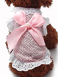abordables -Chat Chien Robe Vêtements pour Chien Mode Nœud papillon A pois Bleu Rose Costume Pour les animaux domestiques