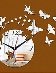 Home Decor reloj pared Mirror Effect DIY Wall Clock Modern Design Fairy Cartoon Star Wall Sticker Living Room