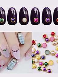 100pcs Hot Nail Art Pearl Rhinestone 3d Gold Metal Studs Gems Charm DIY Craft Styling Tool Stone Nail Decorations