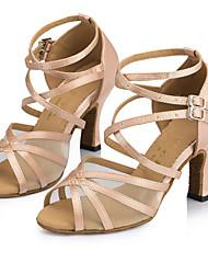abordables -Mujer Zapatos de Baile Latino Encaje / Satén Sandalia / Tacones Alto Hebilla Tacón Personalizado Personalizables Zapatos de baile Rosa / Amarillo / Interior