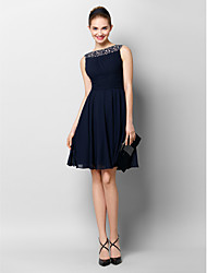 A-Line Bateau Neck Knee Length Chiffon Cocktail Party Homecoming Prom Dress with Beading Draping Ruching by TS Couture®