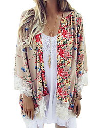 cheap -Women's Boho Loose Chiffon Kimono Cardigan Floral Print Lace Hem Long Sleeve Beach Casual Boho Outerwear Top