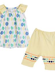 preiswerte -Mädchen Kleidungs Set Baumwolle Frühling Sommer Ärmellos Punkt Gelb