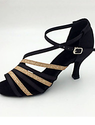 "cheap -Women's Latin Satin Sandal Practice Beginner Professional Indoor Performance Stiletto Heel Black Gold 2"" - 2 3/4"" Customizable"