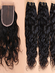Hair Weft with Closure Brazilian Texture Natural Wave 12 Months 4 Pieces hair weaves