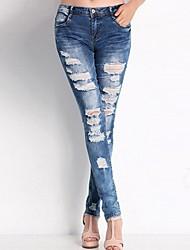 billige -Dame Chic & Moderne Skinny Jeans Bukser Ensfarvet