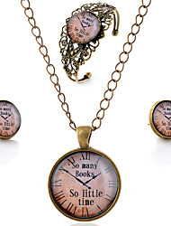 Lureme® Time Gem Series Vintage Pocket watch Pendant Necklace Stud Earrings Hollow Flower Bangle Jewelry Sets