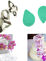 Silicone Butterfly Orchid Petal Stainless Steel Cutter Flower Cutter Cake Decorating Moulds (Random Color)