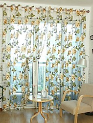 cheap -Rod Pocket Grommet Top One Panel Curtain Country , Jacquard Living Room Polyester Material Sheer Curtains Shades Home Decoration