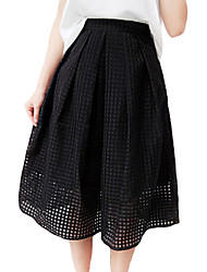 cheap -Women's Going out Knee-length Skirts,Simple Street chic A Line Polyester Solid All Seasons