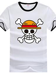 Вдохновлен One Piece Monkey D. Luffy Аниме Косплэй костюмы Косплей футболка С принтом С короткими рукавами Футболка Назначение