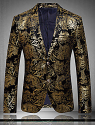 cheap -Men's Daily Club Vintage Spring Fall Blazer,Print Long Sleeve Regular Cotton Polyester