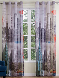 cheap -Grommet Top Two Panels Curtain Modern , Print Living Room Polyester Material Sheer Curtains Shades Home Decoration