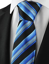 cheap -New Striped Blue Black Mens Tie Suits Necktie Party Wedding Holiday Gift KT1073